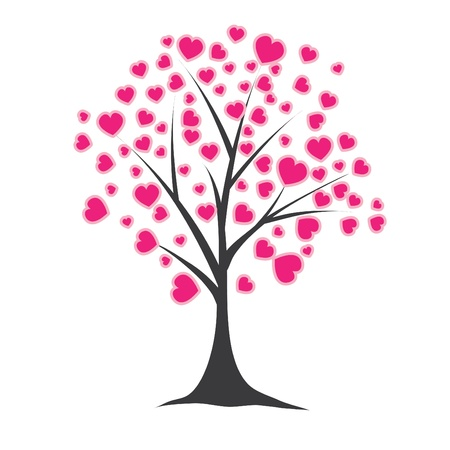Tree with hearts. Vector illustration Vector