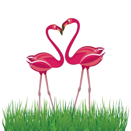 愛の 2 つのフラミンゴ。ベクトル イラスト