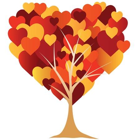 dessin coeur: La Saint-Valentin, coeur, arbre. illustration vectorielle Illustration