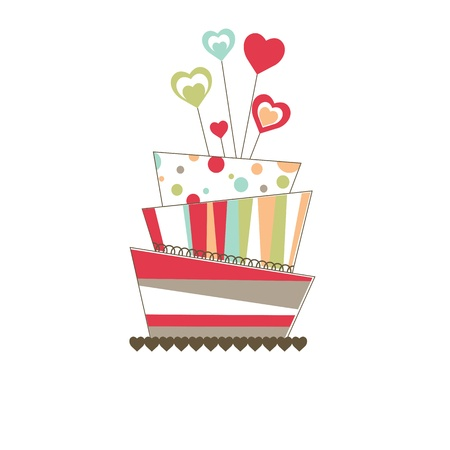 Valentines background with cake Vector