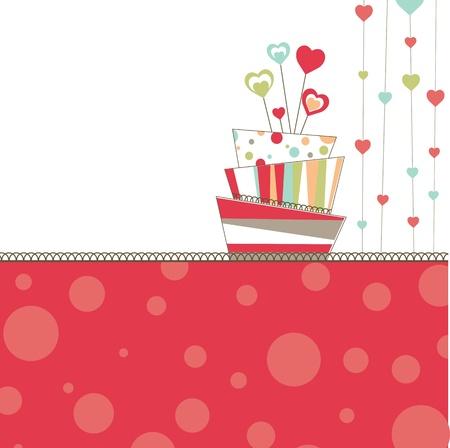 Sfondo San Valentino con torta Vettoriali