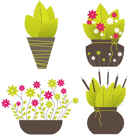 Abstract tree, flowers. illustration Vector