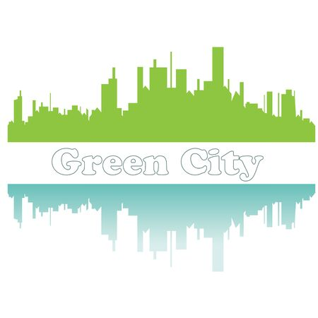 Green city sketch. Vector illustration Vector