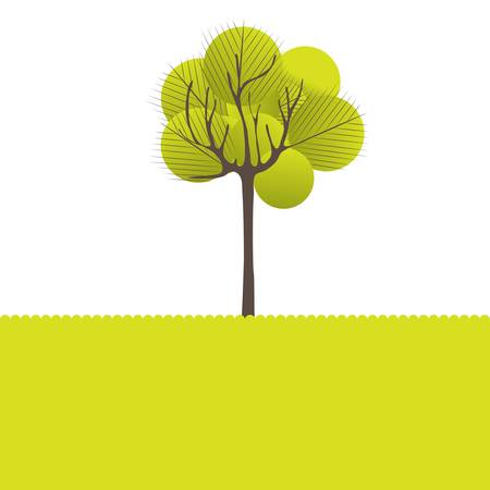 Abstract tree, flowers. Vector illustration Illustration