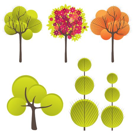 Abstract background with green tree and flowers. Vector illustration