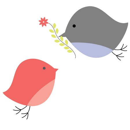 Background with birds in love. Vector illustration Stock Vector - 9221415