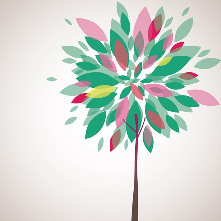 Abstract background with green tree and flowers. Vector illustration Vector