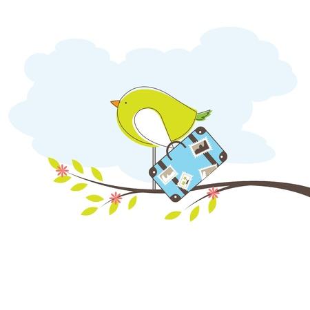 ave del paraiso: Aves en la isla. Vector Illuatration
