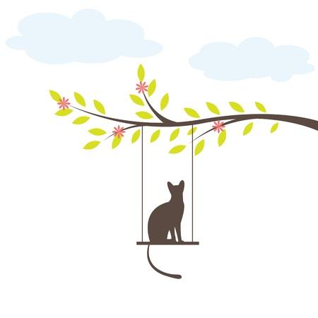Black cat on  swing. Vector Illuatration