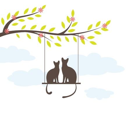 Two Black cat on  swing. Vector Illuatration Vector