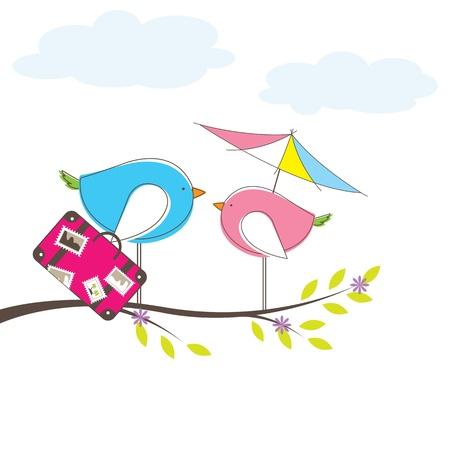 Bird on tree. Stock Vector - 9509344