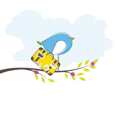 bird of paradise flower: Bird on tree.