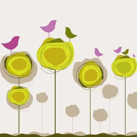 Background with birds, tree. Illustration