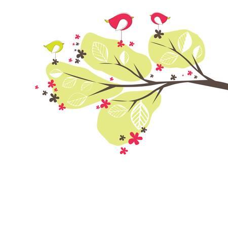 birds in tree: Background with birds, tree illustration Illustration