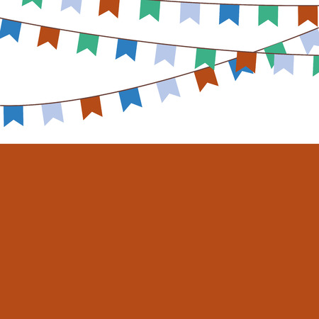 Holiday background with blue, orange, green flags