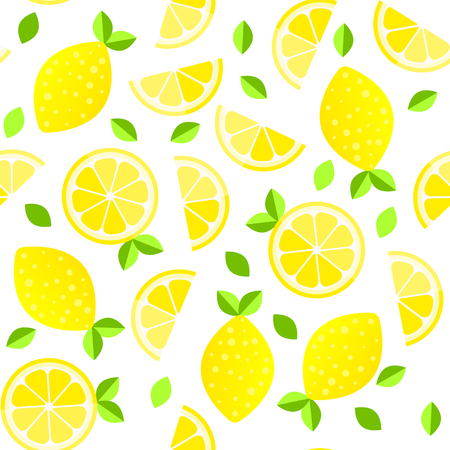 Fresh lemons background. Hand drawn overlapping backdrop. Colorful wallpaper vector. Seamless pattern with citrus fruits collection. Illustration