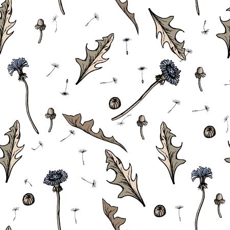 Seamless Vector illustration dandelions with leaves flower meadow. Summer flower natural season beautiful yellow dandelion.