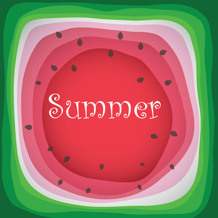 Summer Watermelon Slice, with bite taken off  イラスト・ベクター素材