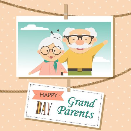 Happy Grandparents Day. Photo of cute cartoon grandparents. Photo frame with rope. Illustration
