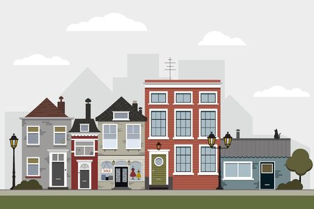 Retro sity. Town street flat vector with low-rise houses, commercial, public buildings in various architecture styles, sidewalk with city lights and road illustration. Vector stock illustration, EPS10
