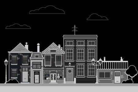 Retro sity. Town street flat vector with low-rise houses, commercial, public buildings in various architecture styles, sidewalk with city lights and road illustration. Vector  illustration, Иллюстрация