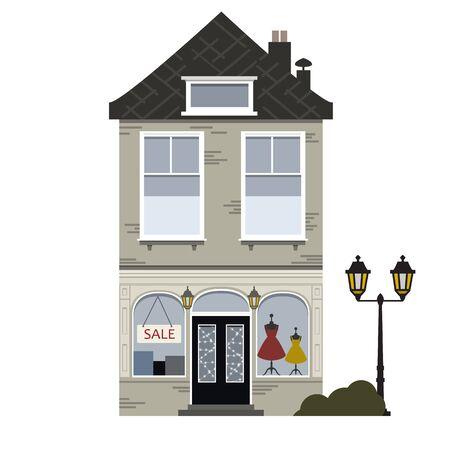 Retro huis. Platte vector met laagbouw huis, commercieel gebouw in retro architectuurstijlen, met stadslichten. vector illustratie, Vector Illustratie