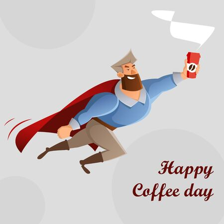 CoffeeMan with  of Coffee. Vector  illustration,  .