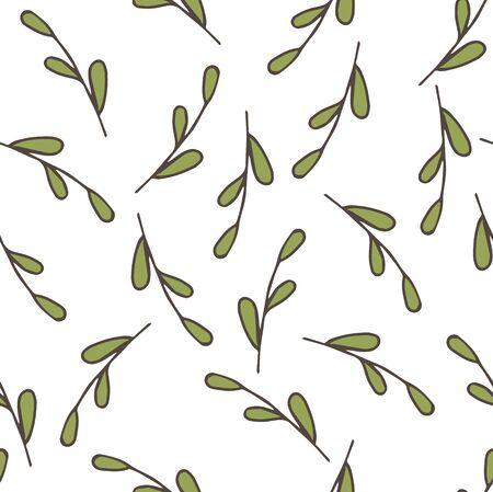 Seamless background pattern with leaf, plants, grass. Vector stock illustration, EPS 10 Ilustração