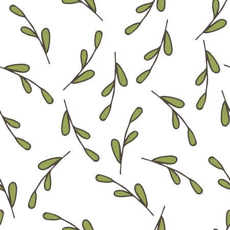 Seamless background pattern with leaf, plants, grass. Vector stock illustration, EPS 10 Illustration