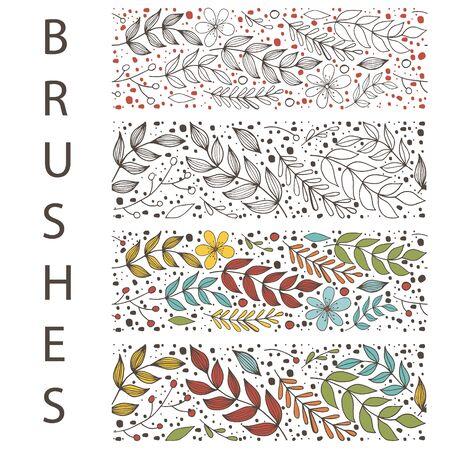 Botanic floral seamless brush with leaf. Hand draw border.Vector stock illustration, EPS 10 Ilustracja