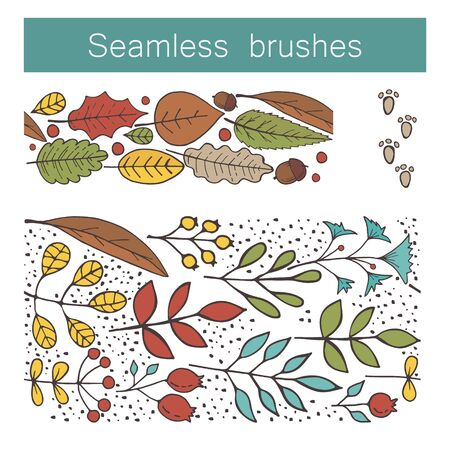 Seamless floral brushes with leafs, flowers, berries. Hand draw botanic vector stock illustration, EPS 10