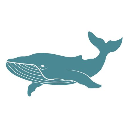 Vector cute cartoon blue whale isolated on white background. Vector illustration EPS.10