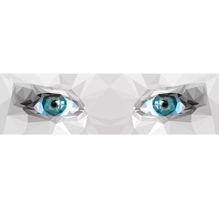 blue eyes: Low poly polygon blue eyes. Abstract vector illustration.