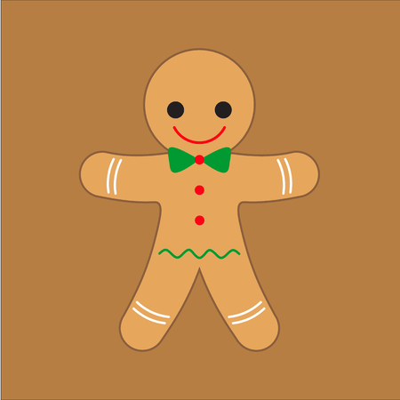 christmas cookie: Gingerbread man Christmas cookie cute character. Happy New Year. Vector illustration.