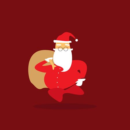 white bacjground: Santa claus on red background. Vector illustration.