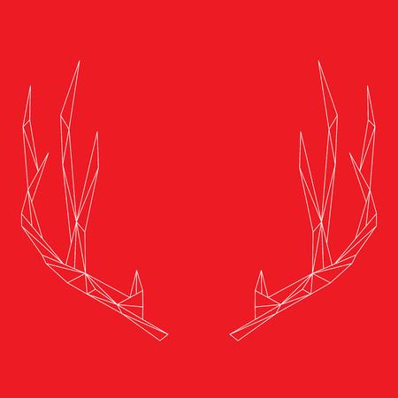 horns: Minimal polygon deer deer horns. Vector illustration.