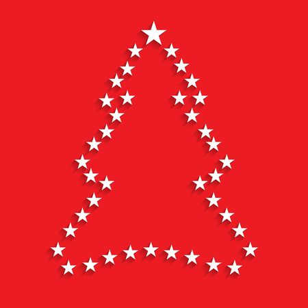 plain postcards: Christmas tree stars outline. Vector illustration.