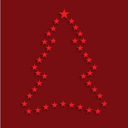 christmas tree illustration: Christmas tree stars outline. Vector illustration.