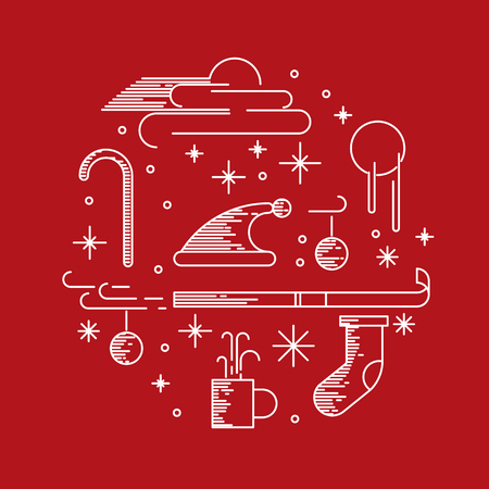christmas theme: Christmas theme on red background. Vector illustration.