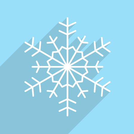 lightweight ornaments: Snowflake icon with long shadow. Christmas card. Vector illustration. Illustration