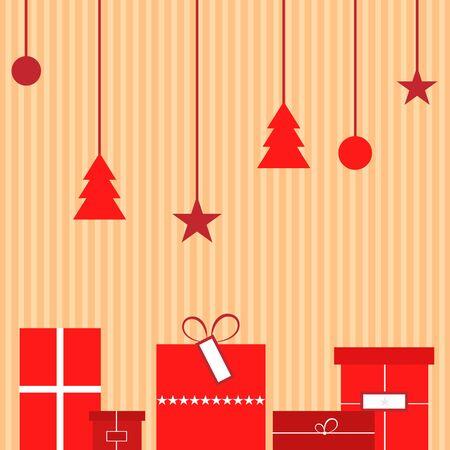 present: Christmas present and Christmas tree decoration icons. Vector illustration.