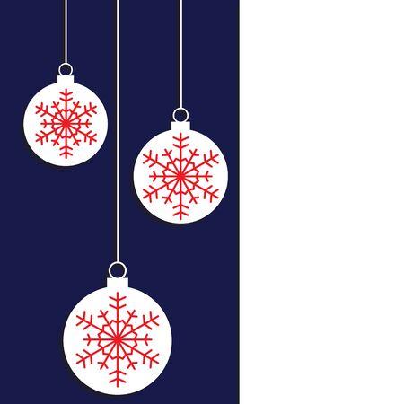 christmas postcard: Christmas tree decoration with snowflake. Vector illustration.