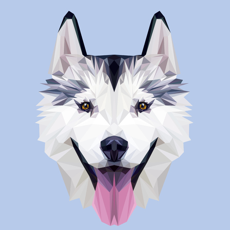 Husky dog low poly design. Triangle vector illustration. 일러스트