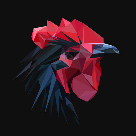 rooster: Rooster chicken low poly design. Triangle vector illustration. Illustration