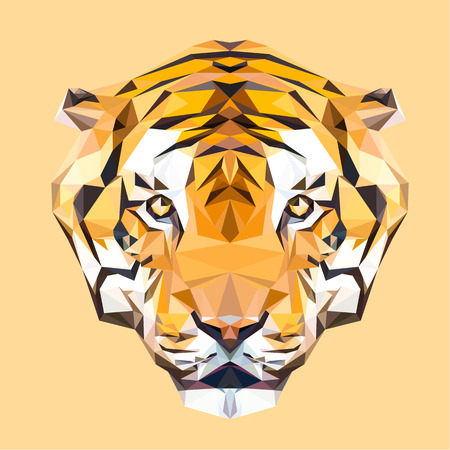 tiger head: Tiger low poly design. Triangle vector illustration.