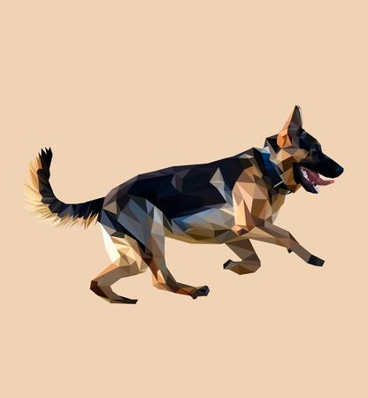 vector eps10: Dog German shepherd low poly design. Triangle vector illustration.