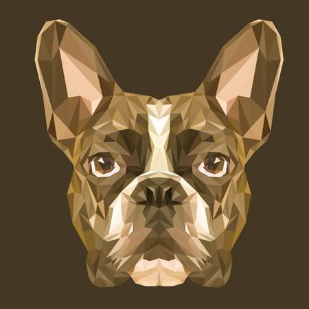 dogo: Bulldog franc�s dise�o de bajo poli. Ilustraci�n vectorial Tri�ngulo.