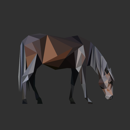 Horse body low poly design. Triangle vector illustration.