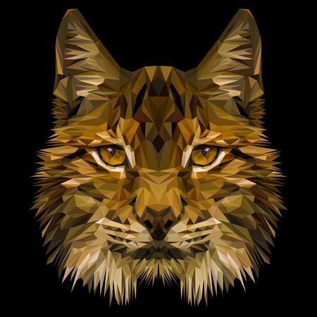 Lynx 고양이 동물 낮은 폴 리 디자인. 삼각형 벡터 일러스트 레이 션.