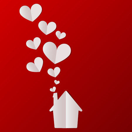 Valentines day house with hearts background. Vector illustration.